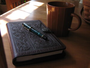 Journal, Pen and Coffee Mug